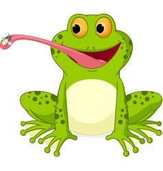 happy frog cartoon catching fly vector image