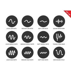 Sound waves set icons on white background vector image