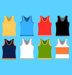 tank top set simple icons yellow red blue vector image