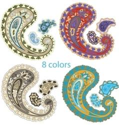 Traditional ornamental set Paisley design vector image vector image