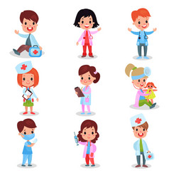 cute little kids playing doctor set boys and vector image