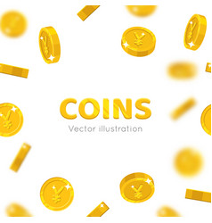 flying gold chinese yuan or japanese yen cartoon vector image vector image