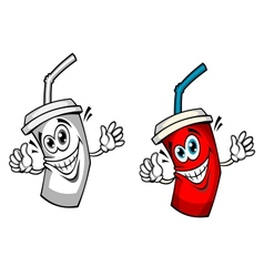 Fresh soda drink with straw vector image vector image