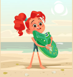 happy smiling little girl child character mascot vector image