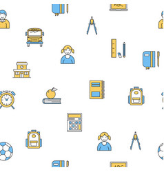 seamless pattern with school supplies vector image