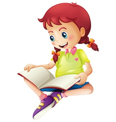 A young lady reading a book vector image