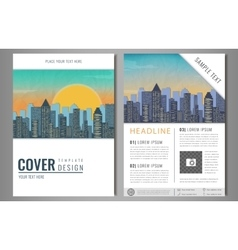 Brochure Flyer design with city landscape vector image