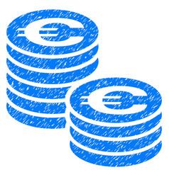 Euro coin columns grunge icon vector