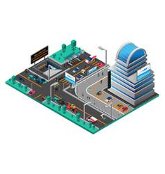 futuristic cityscape isometric composition vector image vector image
