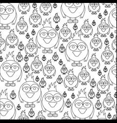 monochrome pattern of caricature bird vector image