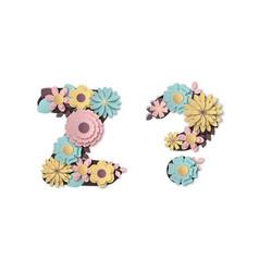paper art flower alphabet beautiful romantic vector image