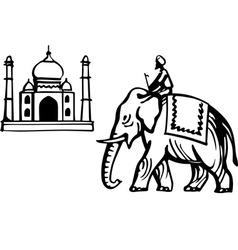 Taj Mahal and Indian Elephant vector image vector image