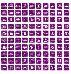100 logistic and delivery icons set grunge purple vector image