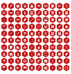 100 stationery icons hexagon red vector