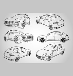 a set of several outline of an suv vector image