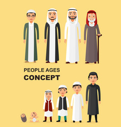 All age group of arab man family vector