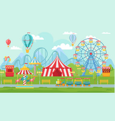 amusing park festival amusement attractions vector image