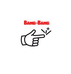 Bang-bang finger comic icon vector