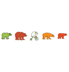 Bear icon set color outline style vector