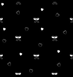 bow and heart black seamless pattern vector image