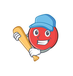 Bowling ball character cartoon playing baseball vector