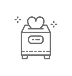 Box with donations valentine day charity vector