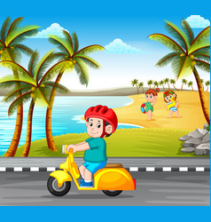 boy driving the motorcycle on the road vector image