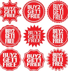 Buy 2 get 1 free red label Buy 2 get 1 free red vector