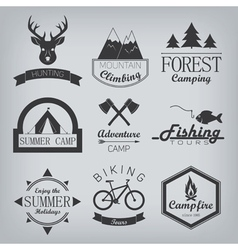 Camping and hunting logos vector image
