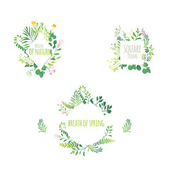 cartoon abstract green plant frame set vector image
