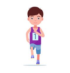 cartoon boy running a marathon vector image