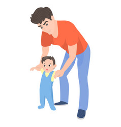 Cartoon father teaching his son to walk vector