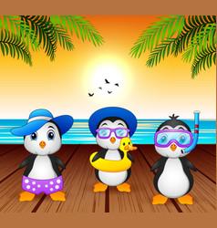 cartoon summer penguins at beach vector image