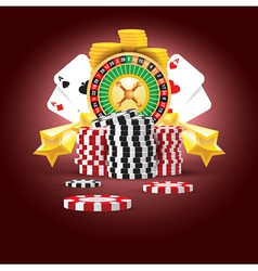 casino european roulette money cards game vector image