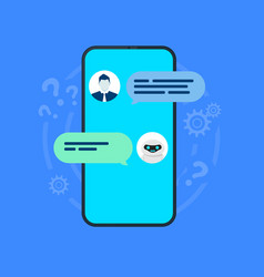 chatbot smartphone with user and robot chatting vector image