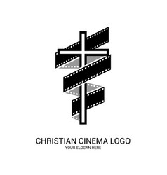 Christian cinema logo symbols movies vector