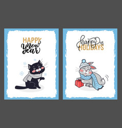 christmas cards with greetings from cat and bunny vector image