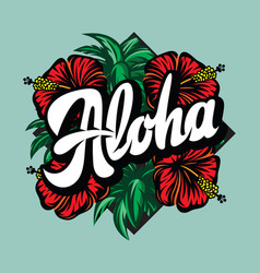 color with aloha lettering vector image