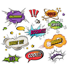 comic speech bubbles and splashes set with vector image