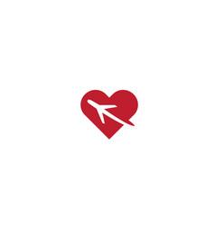 creative airplane heart logo symbol vector image