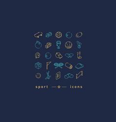 creative set of icons on sports sports items vector image
