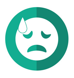 crying face emoticon funny shadow vector image