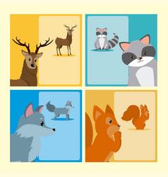 Cute animals cards vector