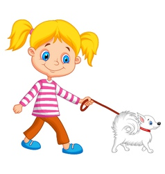 Cute cartoon girl walking with dog vector image