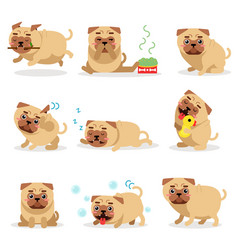 Cute funny pug dog activities during day set pug vector