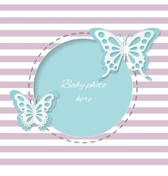 Cute round frame with paper cut butterflies vector