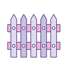 Cute wooden fence icon vector