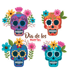 Day of the dead masks with floral decoration vector