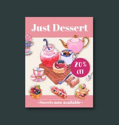 Dessert poster design with jam jar tea fruit vector