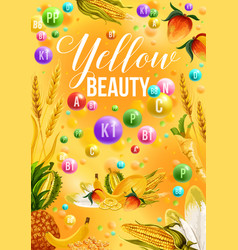 Diet color detox poster for yellow products day vector